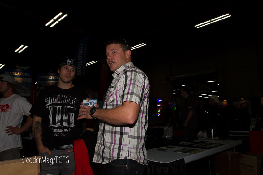 Aaron Bernasconi from Golden Snowmobile Adventures and Slednecks OG Brad Gilmore chatting.