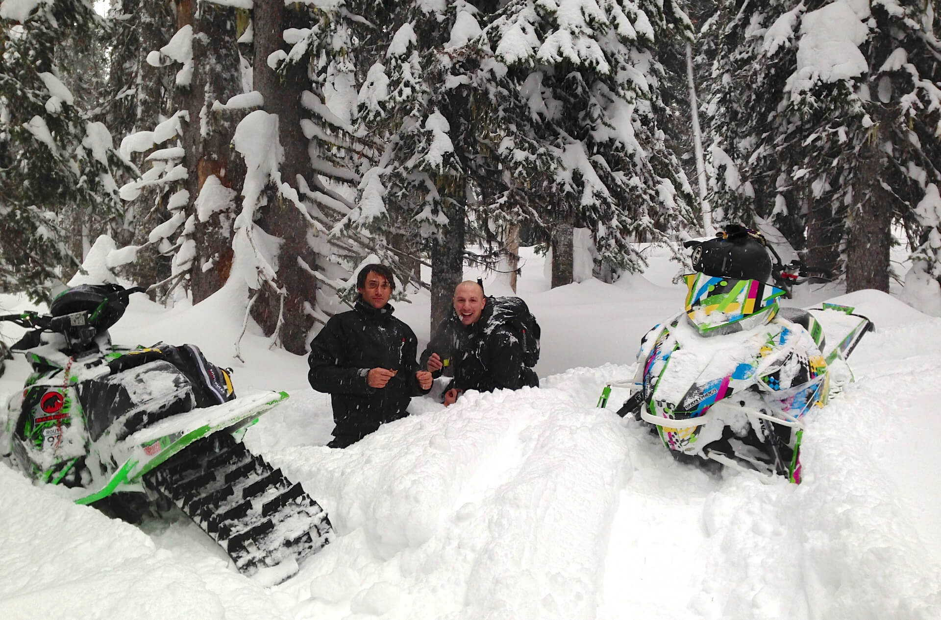 Just a couple of buds, hanging out in waist deep pow.