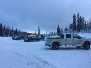 Cleared parking lot for Gorman Lake at 14km.