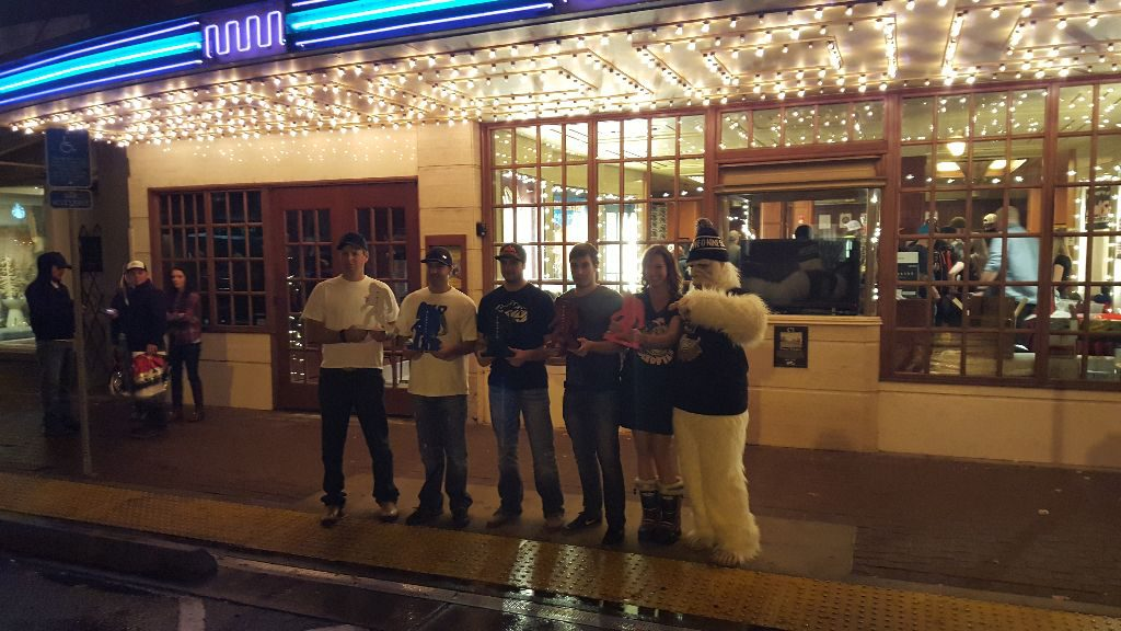 The Yeti winners lined up outside the Tower Theater, including winner of the amateur film content, Joe Gill  |  Photo Brandy Floyd