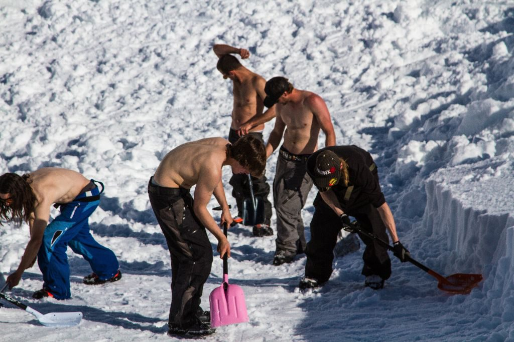 How many shirtless dudes does it take to build a jump? Too many, apparently.