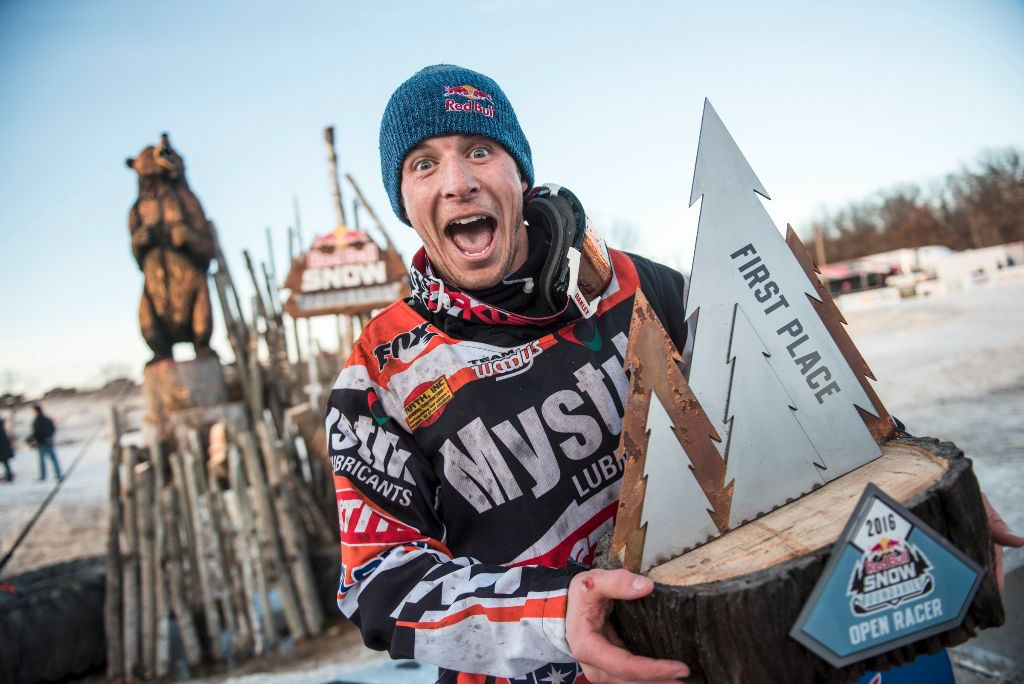Levi LeValle celebrates after winning Red Bull Snow Boundaries in Elk River, MN on February 20, 2016.