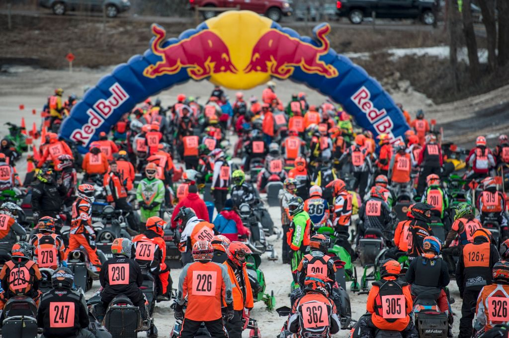 Competitors line up at the start during Red Bull Snow Boundaries in Elk River, MN on February 20, 2016.