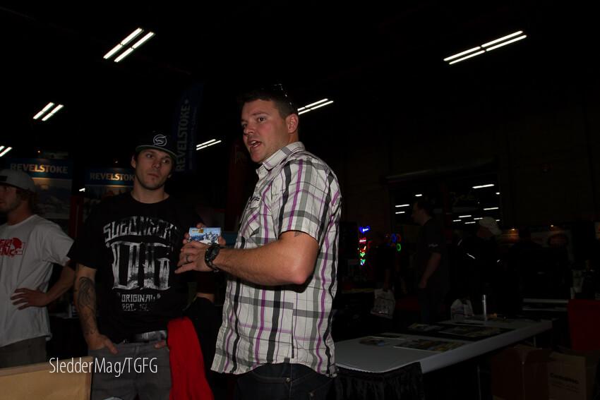 Aaron Bernasconi from Golden Snowmobile Adventures and Slednecks OG Brad Gilmore chatting.