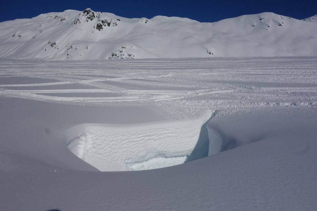 Tracks leading into a crevasse hole on Appa Glacier photo: Ray Mason