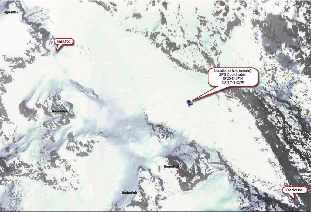 Moulin on the Appa Glacier. Information provided by Mark Selin.