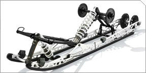 """A new rear suspension geometry helps """"pop"""" the skid out of the snow more quickly."""
