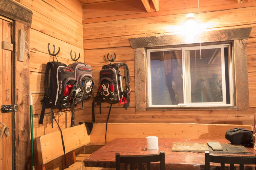 A propane furnace keeps the place warm and toasty, and allows gear to dry overnight. No need to stop riding to go back and stoke the fire!