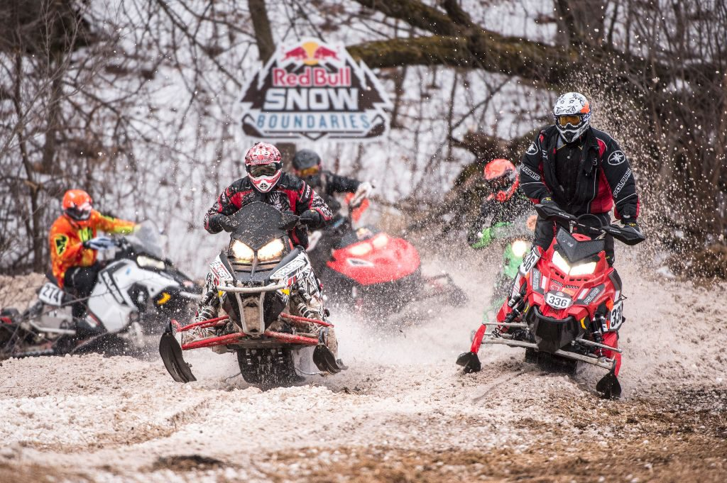 Competitors compete at Red Bull Snow Boundaries in Elk River, MN on February 20, 2016.