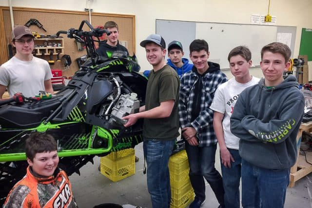 Teacher and Students Work on 2018 Mountain Sled in Best High School Program Ever
