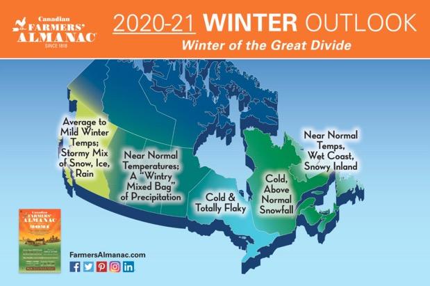 Farmer's Almanac Winter 2021 Canada map