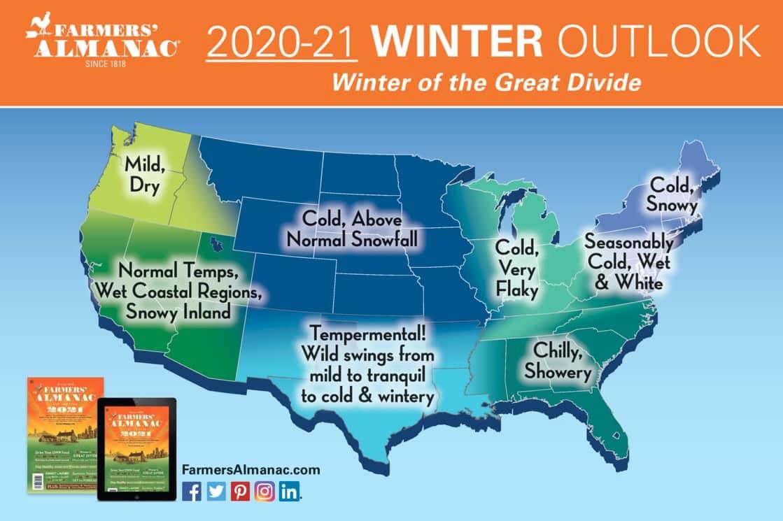 Farmer's Almanac Winter 2021 USA map