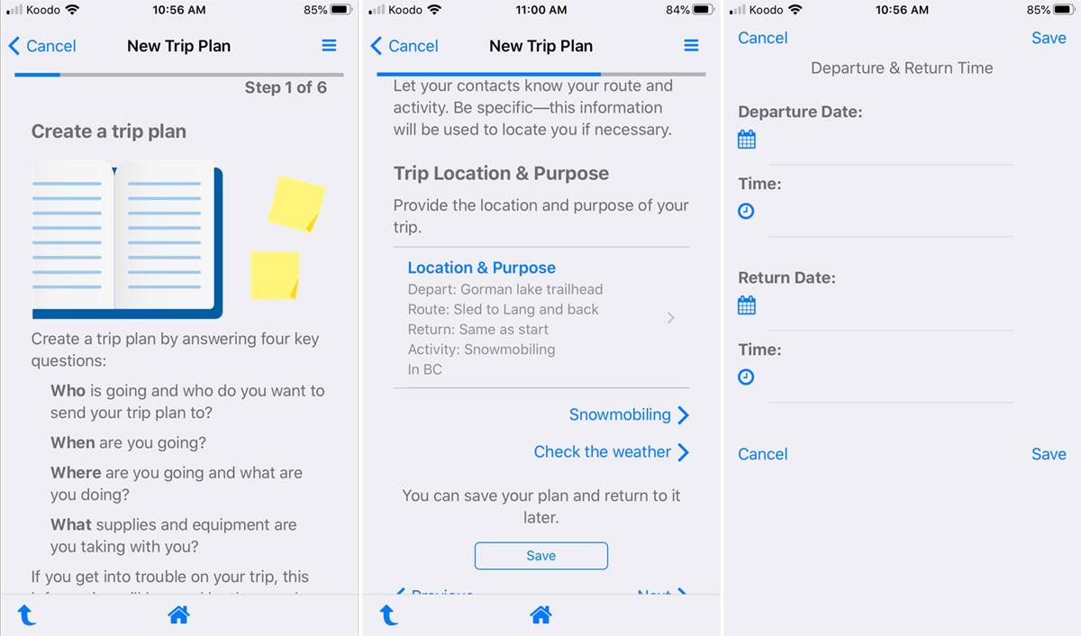 AdventureSmart Trip Plan App