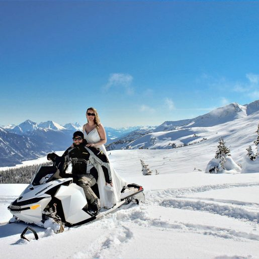 Sledders Score Perfect Weather for Their Valemount Mountaintop Wedding